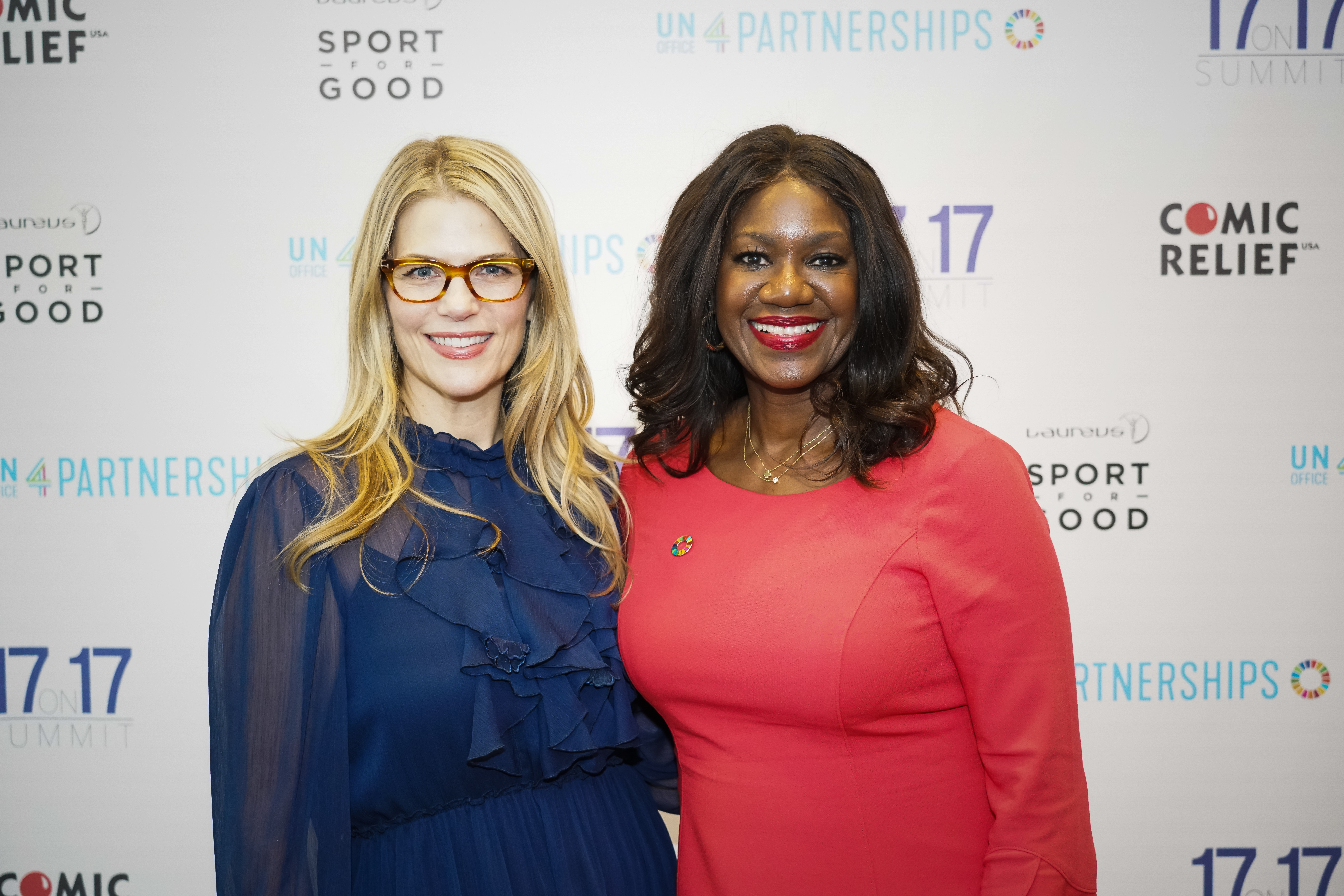 Benita Fitzgerald Mosley, CEO, Laureus USA with Alison Moore, CEO, Comic Relief USA